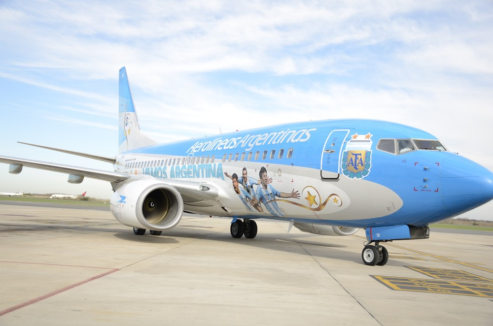 The best football player in the World (and possibly best in history too) will fly on this Aerolineas Boeing 737  Picture: Aerolineas Argentinas