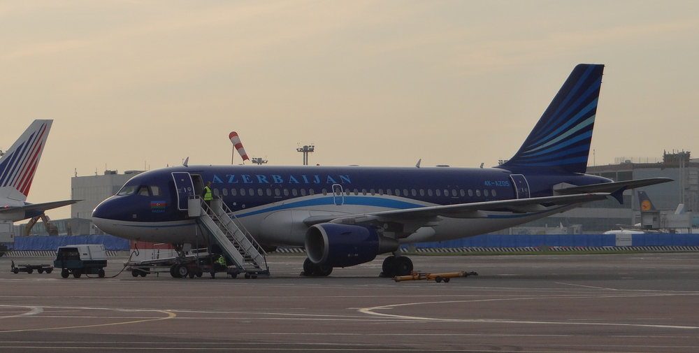 An Azerbaijan Airlines Airbus A319. Moscow is a great place to spot airliners from all the former Soviet republics