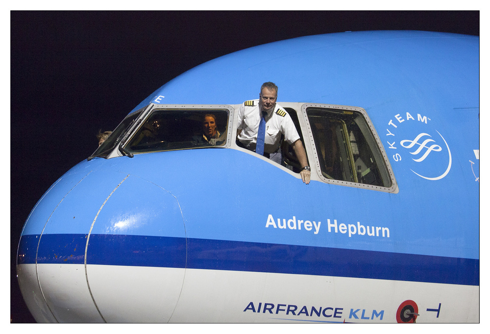 Last of the line: KLM's Audrey Hepburn arrives from Montreal. Picture: KLM