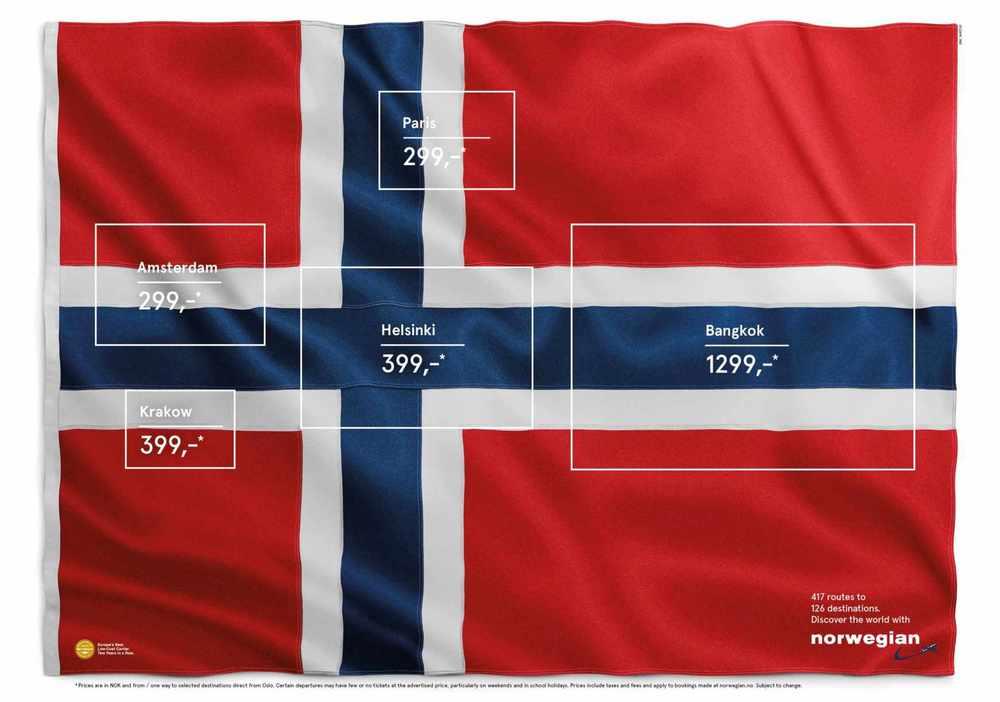 Norwegian flag advertisement