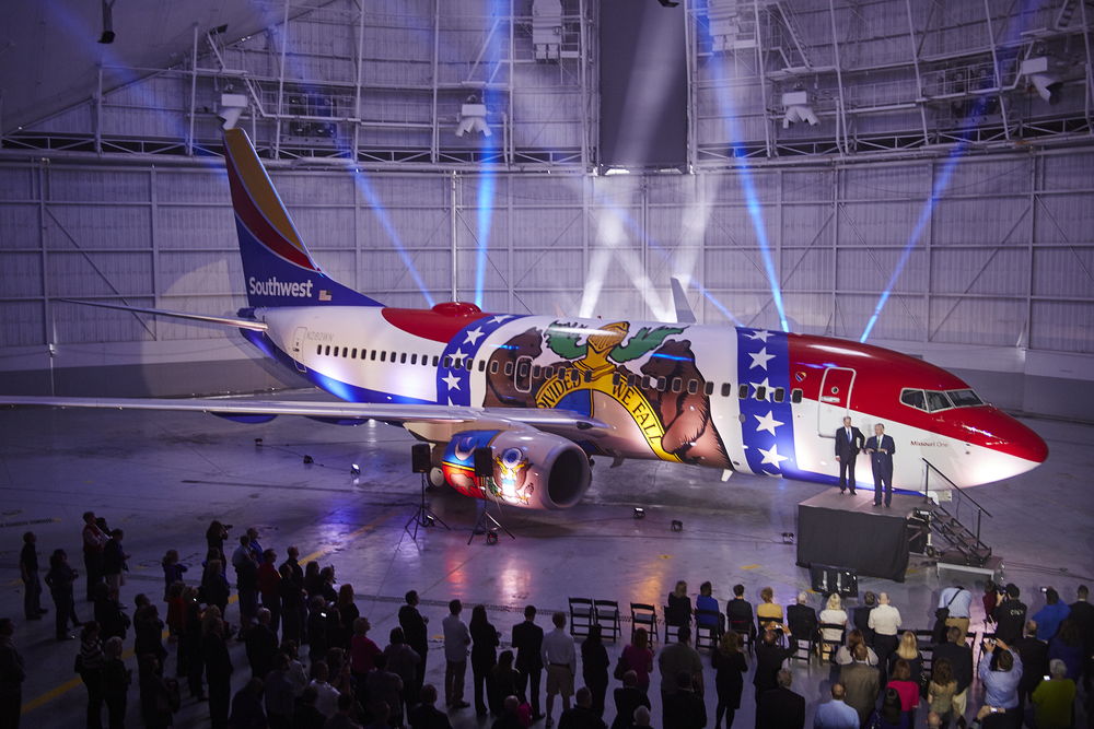 "The latest addition has been the ""Missouri One"" (N280WN), unveiled earlier this year. Picture: Southwest Airlines"