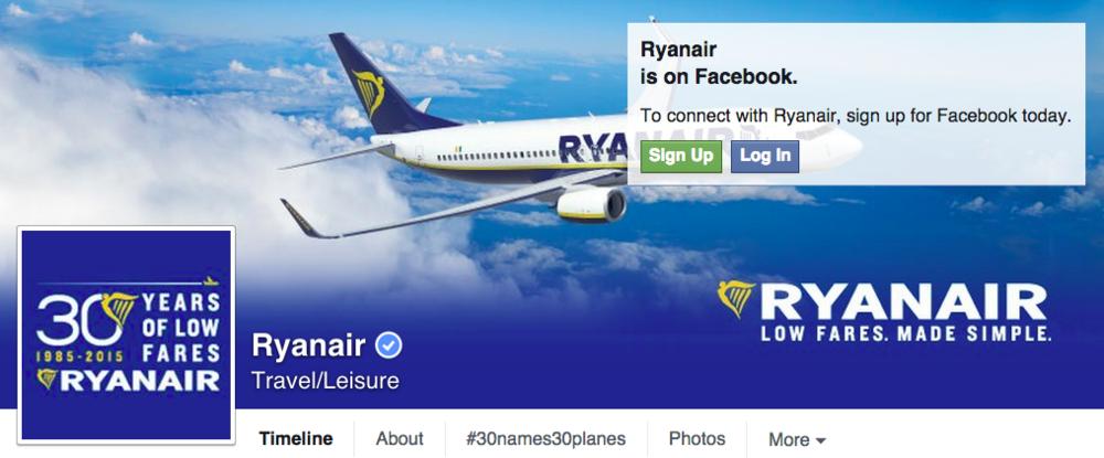 Ryanair Facebook