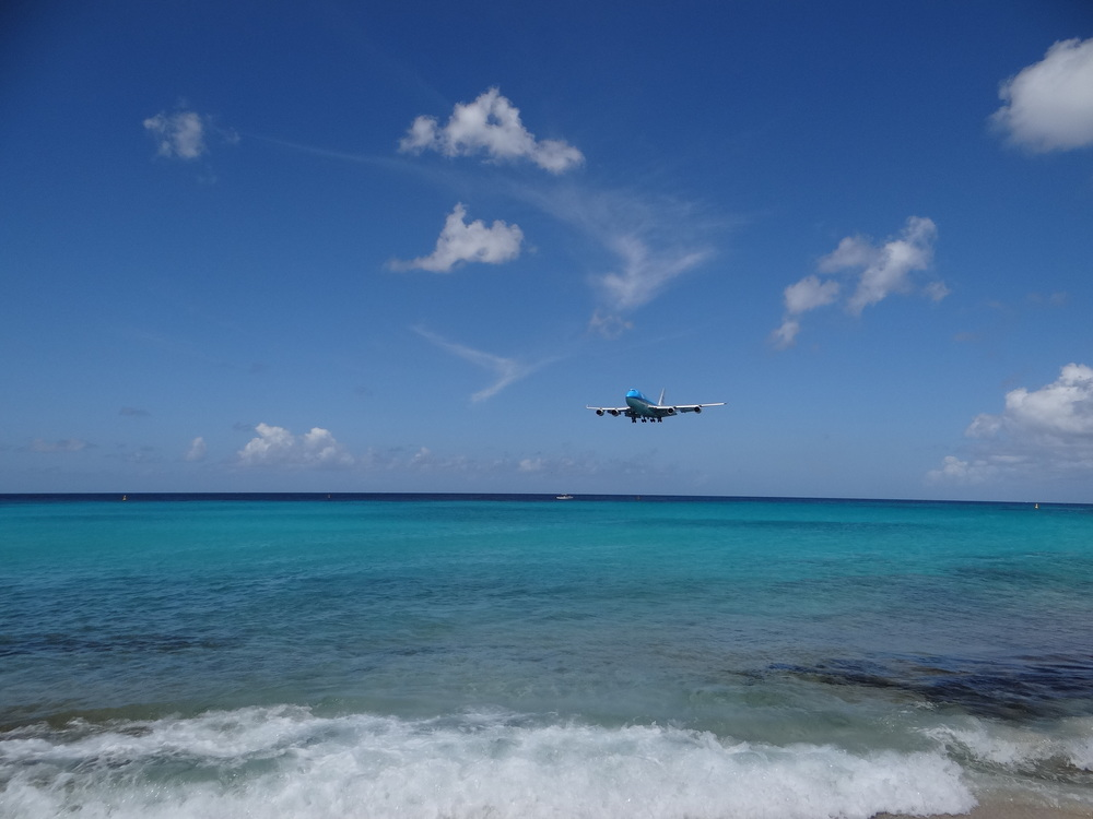 I love the way KLM's light blue matches the crystalline turquoise waters of Maho Beach!