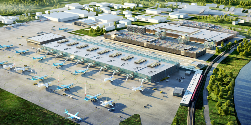 An artist's impression of a particularly busy Ramenskoe airport. Picture:  Ramport