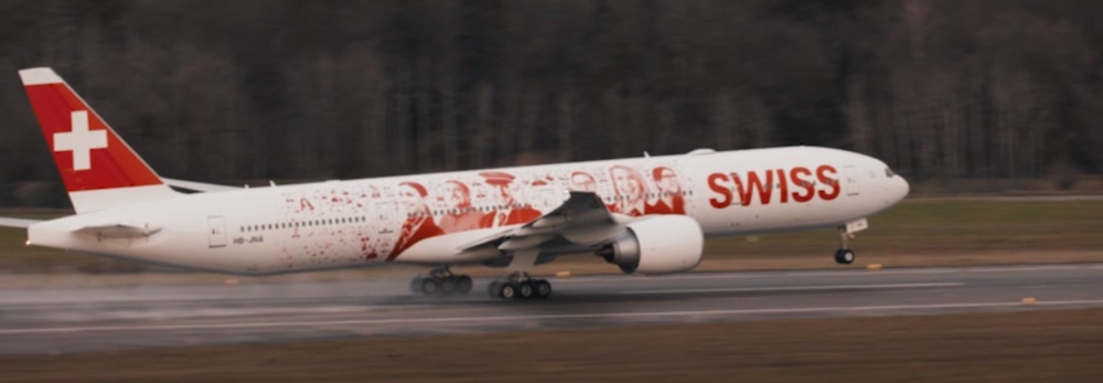 A special livery has been added to the first Swiss Boeing 777
