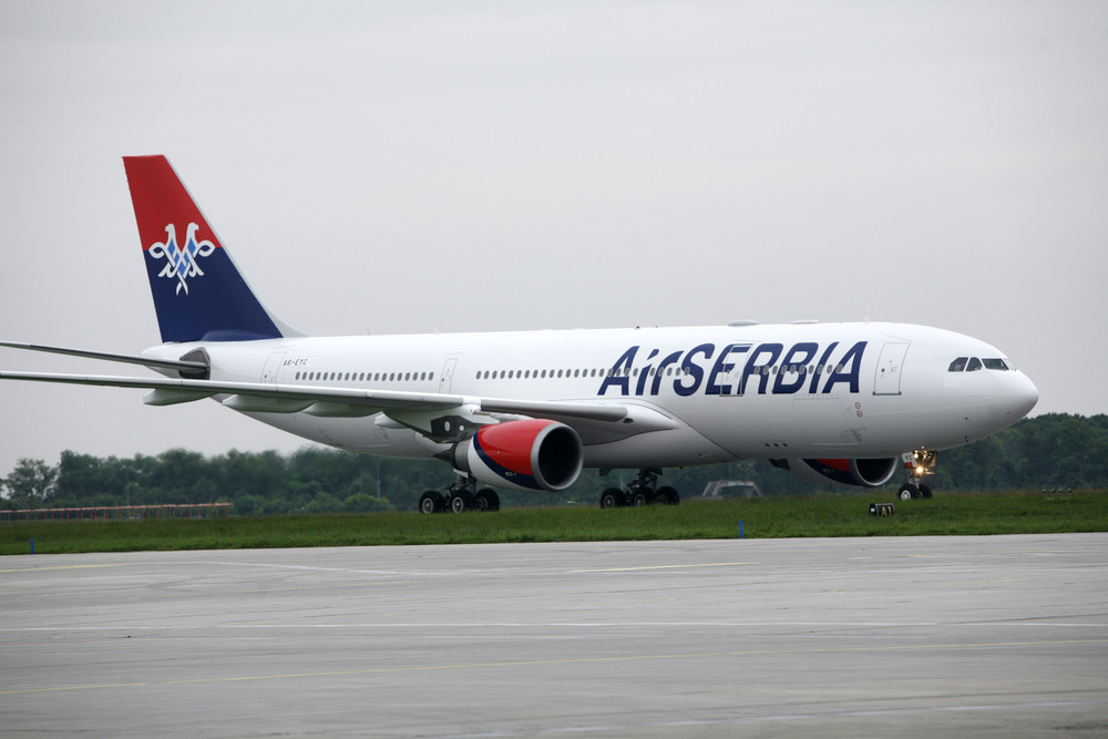 Air Serbia's first wide-body aircraft, an Airbus A330, lands at Nikola Tesla Airport. The aircraft has 256 seats and will be operated on the Belgrade-New York route. Picture: Air Serbia