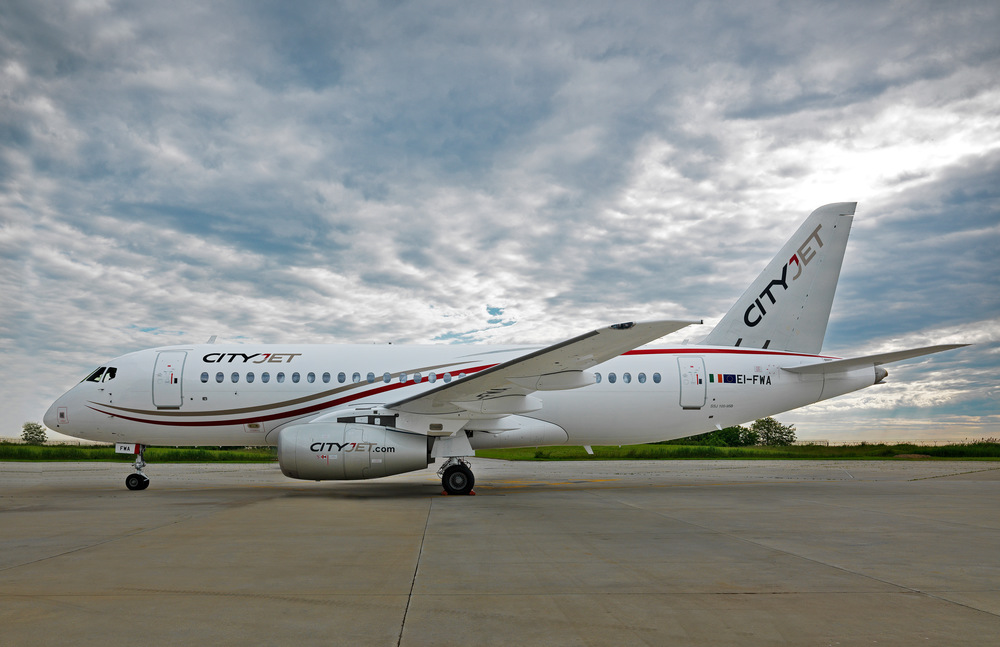 The first of CityJet's Superjets, just out of the paint shop. Picture: Superjet International