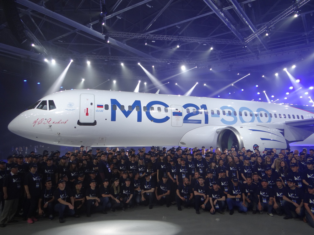 Irkut's staff posing with their creation