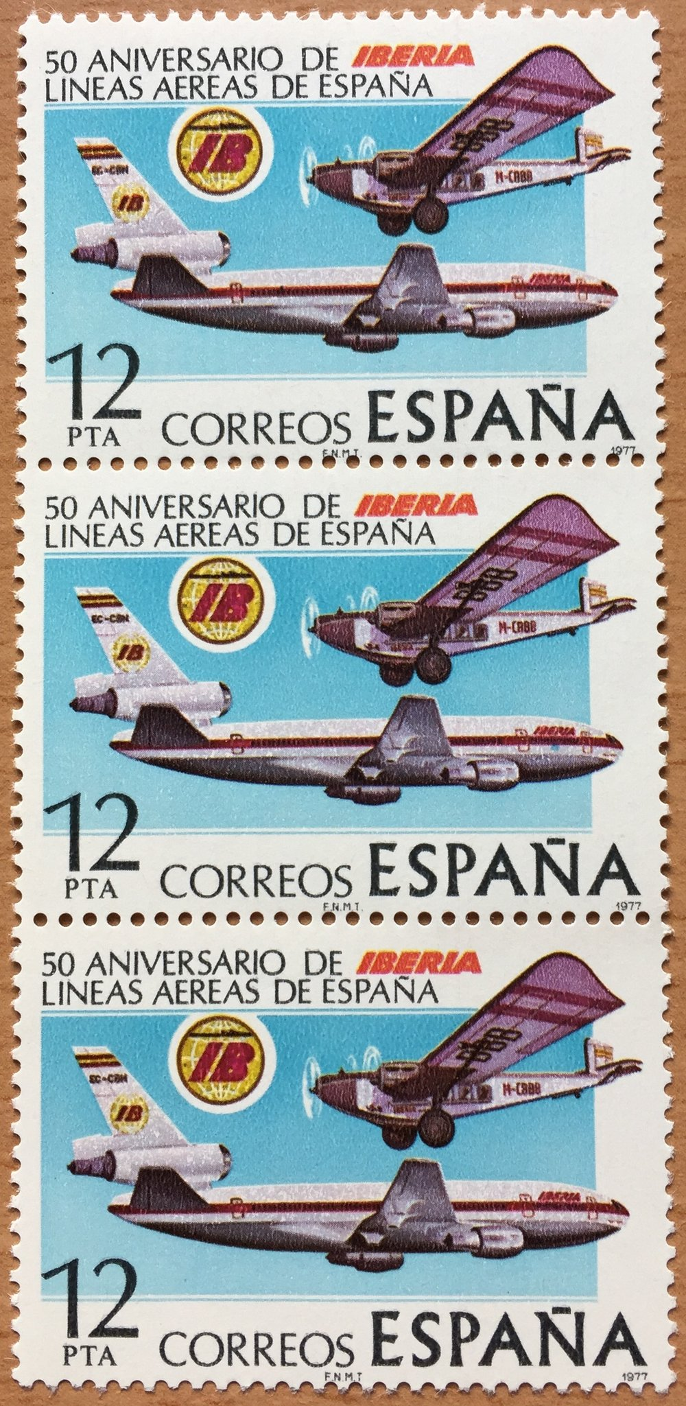 "Iberia's 50th Anniversary, Spanish post, ""Correos"", stamp, 1977"