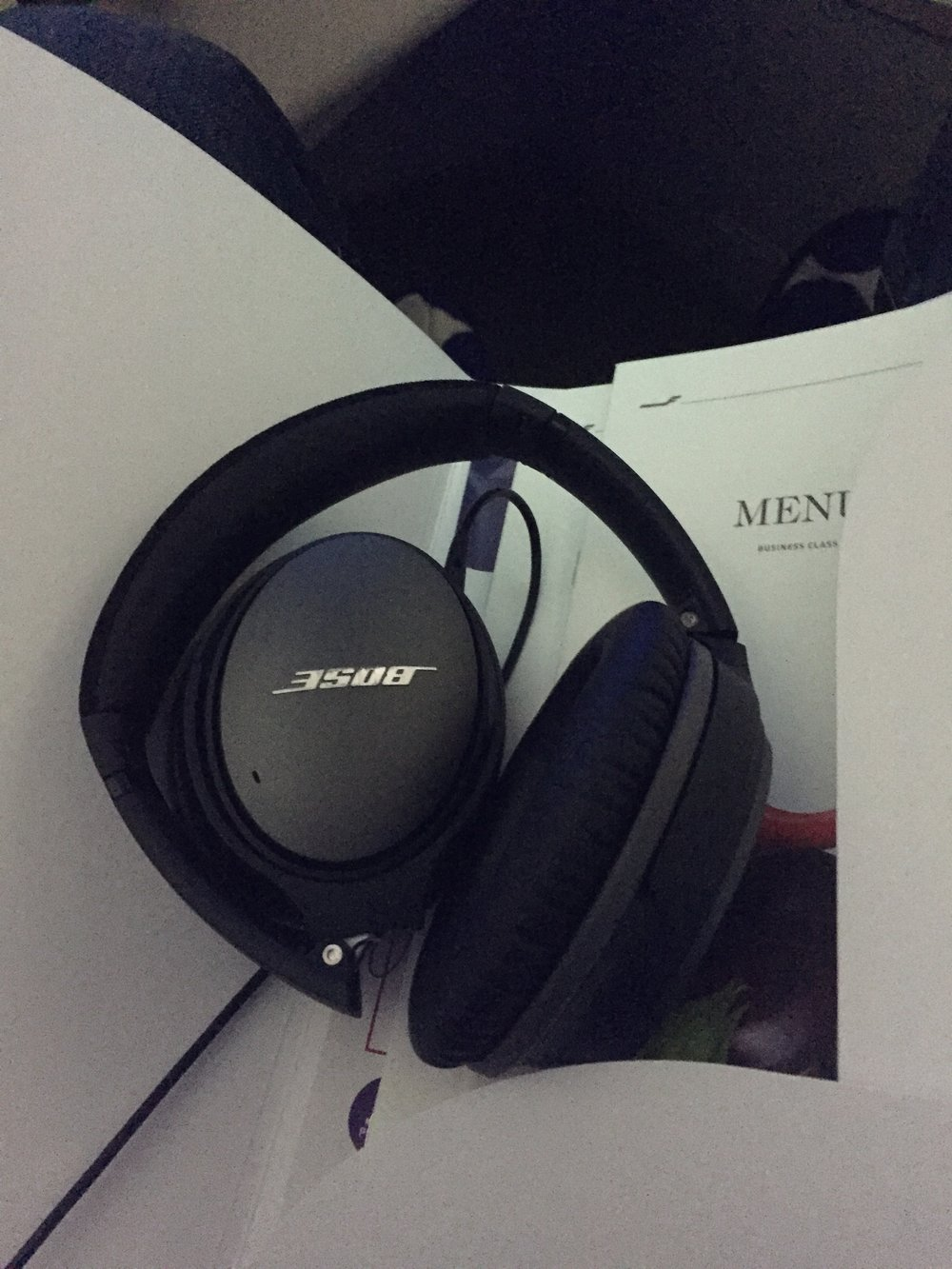 This rather robust set of Bose headphones was provided by Finnair too - great for cancelling cabin noise