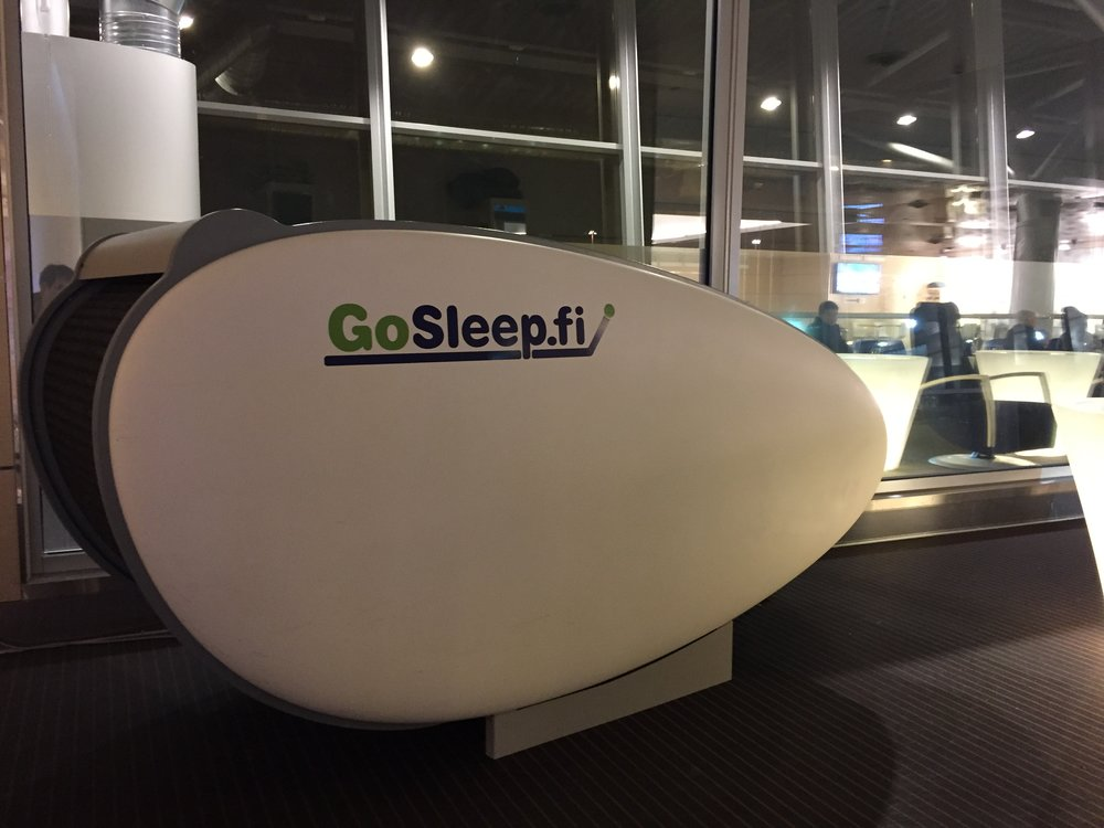 This is one of the sleeping pods at Finnair's business class lounge