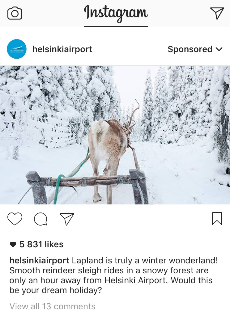 Helsinki airport uses Instagram as a promotional tool, even sponsoring some posts