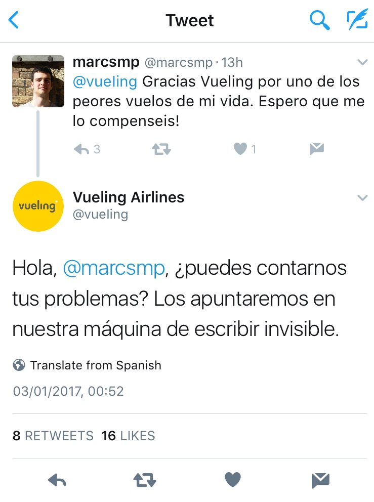 """Thanks, Vueling, for one of the worst flights in my life"" - ""Sure, tell us about your problems, and we will write everything down with our invisible typewriter"""