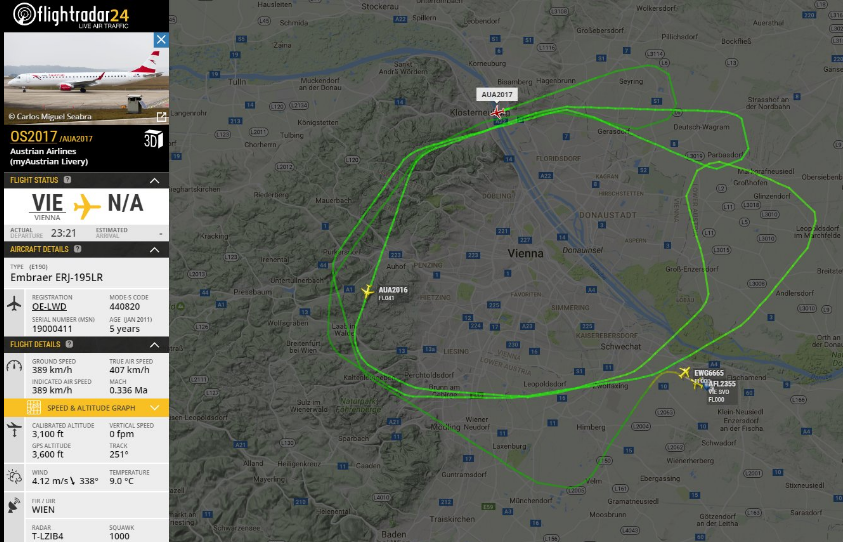 Austrian Airlines' two special flights, in action over Vienna during New Year's eve