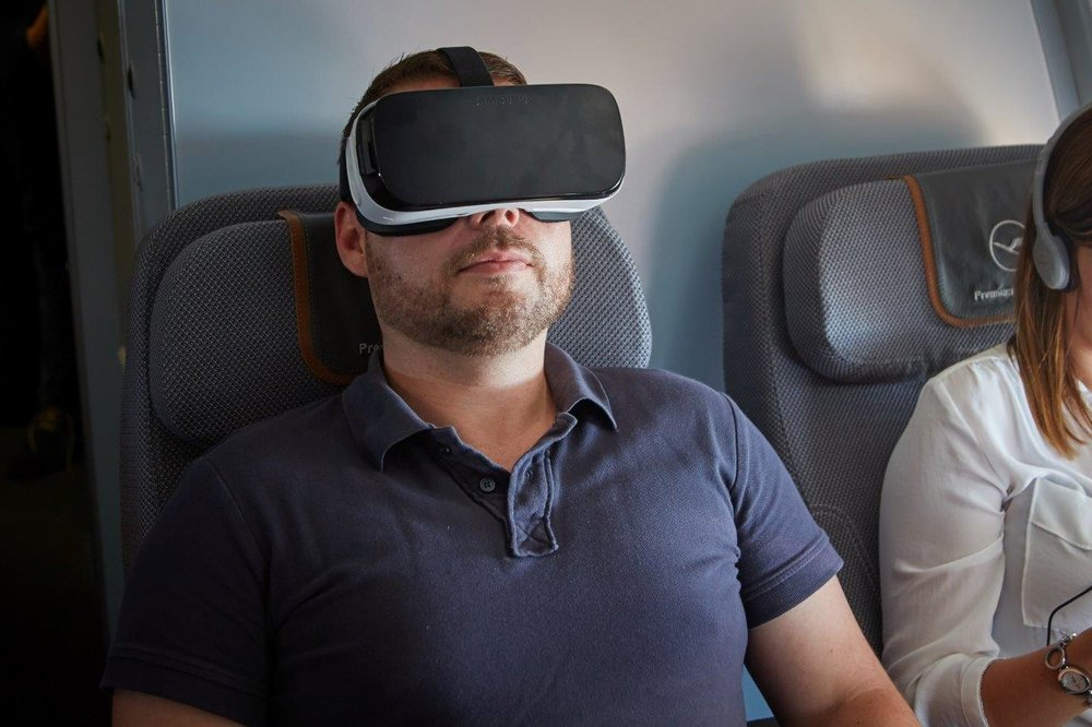 Testing Lufthansa's virtual reality set while on route to Silicon Valley. Picture: Lufthansa