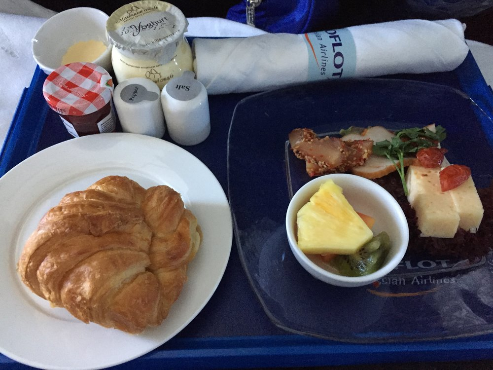 Aeroflot business class breakfast, the first part - continental breakfast