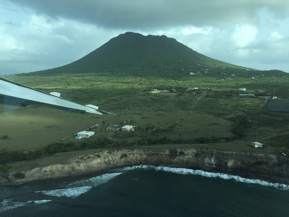 "A view of the Dutch Caribbean island of Sint Eustatius (popularly known as ""Statis"") and its majestic volcano"