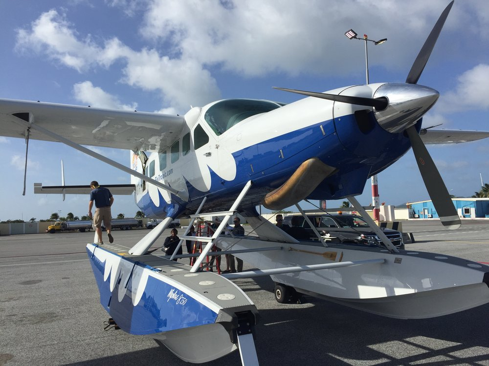 The Cessna Caravan is Tropic Ocean Airways workhorse. Here one with floats at Princess Juliana Airport, Sint Maarten