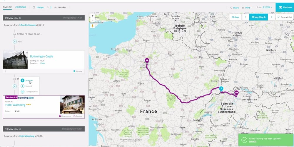 Quite an interesting feature for those on multi-city itineraries: Tripcreator will suggest you things to see or to do along your route