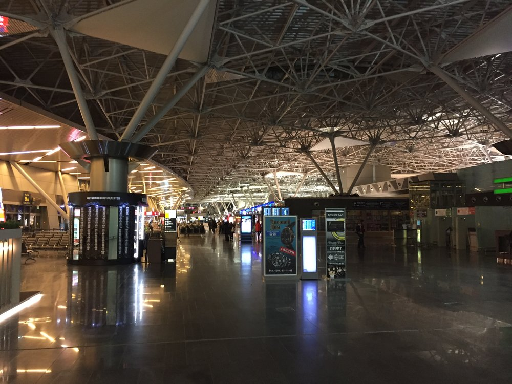 Vnukovo Airport in the early hours of the morning