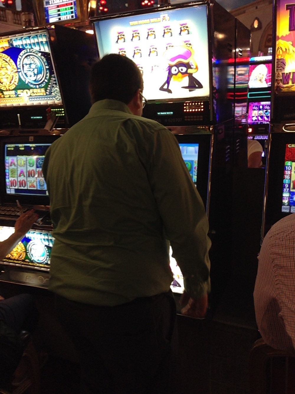 Mike trying out the penguin slots.