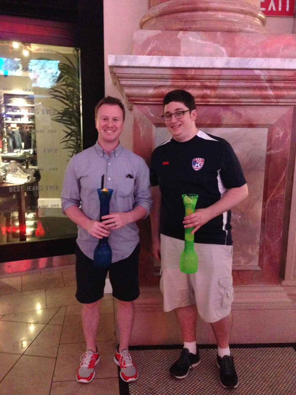 Jason and Mike with their cucumber vodka drinks.