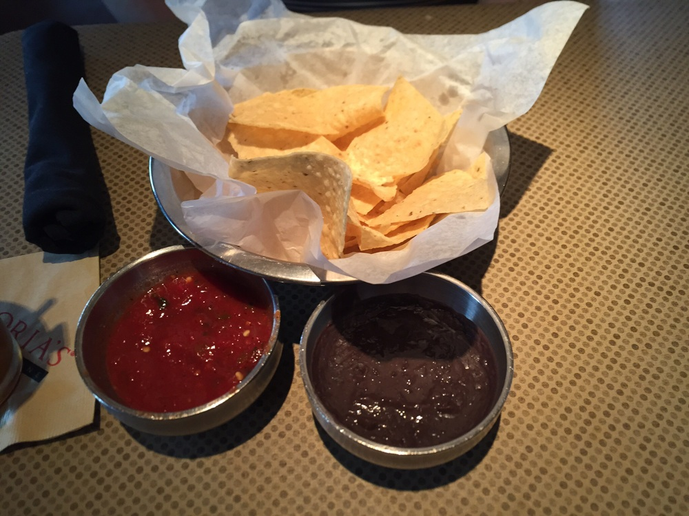 Chips, Salsa, and Refried Black Beans