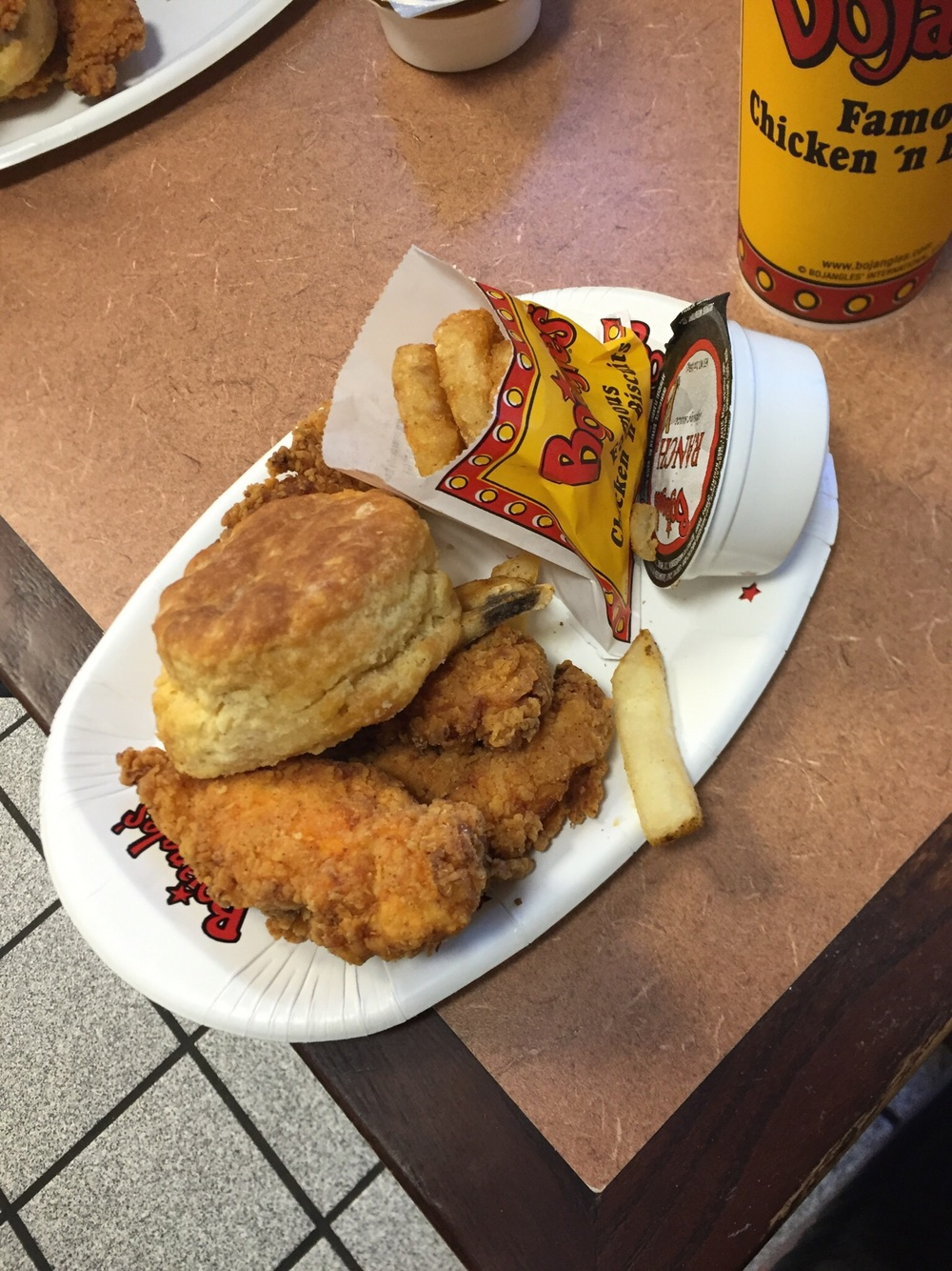 Chicken Tenders, Biscuit, and Botato Rounds