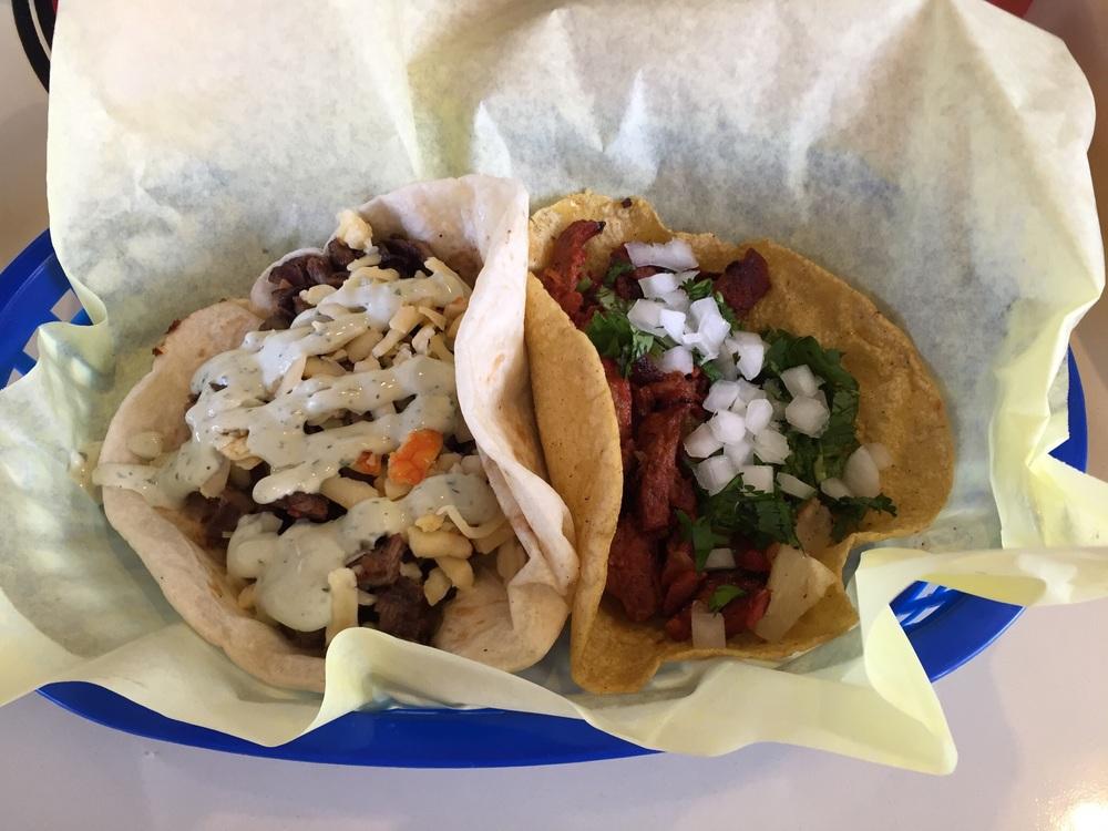 Steak Taco and Carnitas Taco