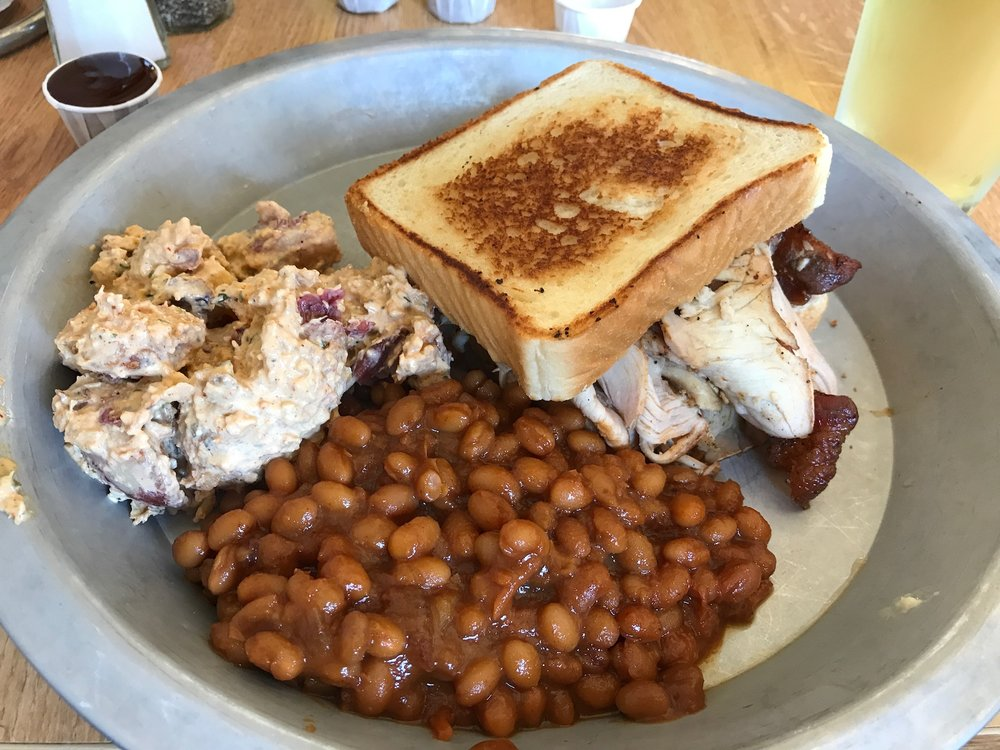 Turkey sandwich, baked beans, potato salad