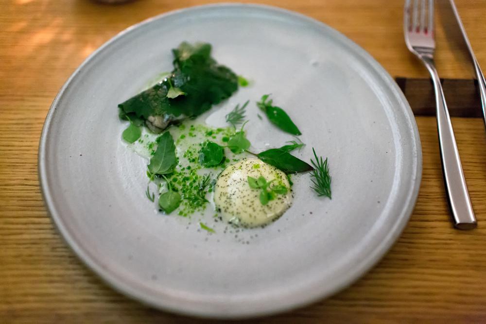 Oyster with Kohlrabi, Cream @ Aska (New York, New York).