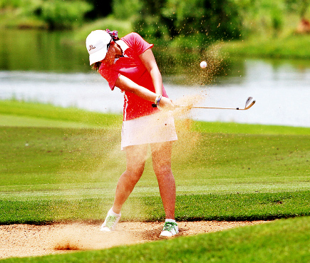 Thailand's Bhenyapa Buranasiri plays a bunker shot during the opening round of the Faldo Series Asia event yesterday.