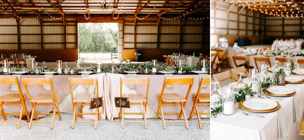 high end barn reception details