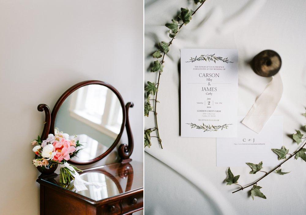 bridal details bouquet and invitation
