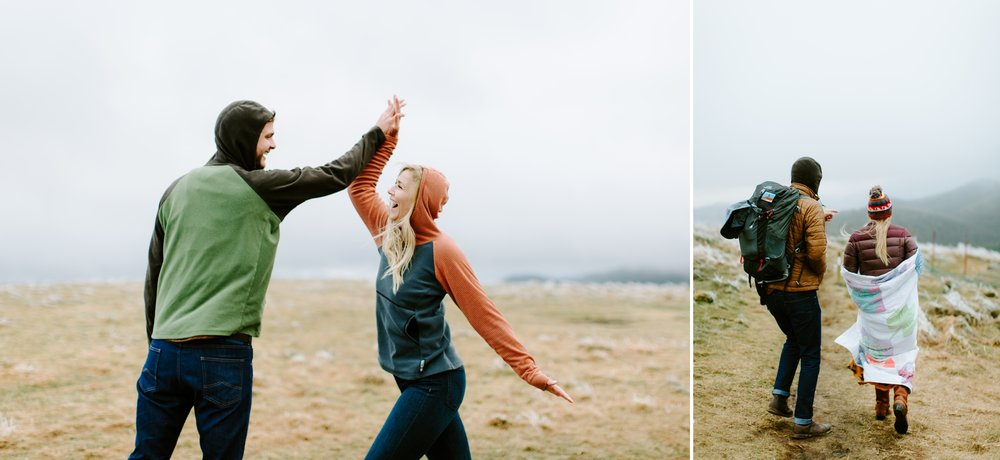 high five couple on a mountain