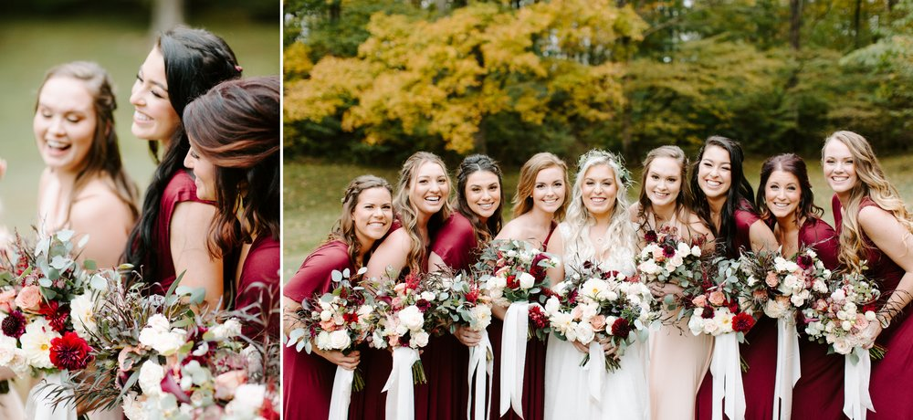 happy bridesmaids at a fall wedding in nashville
