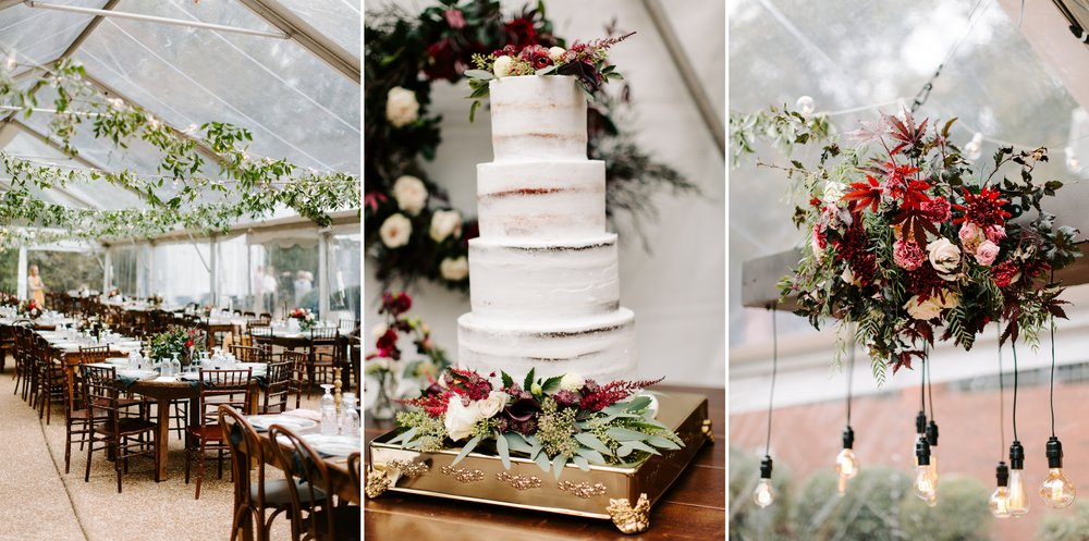 wedding cake and tables