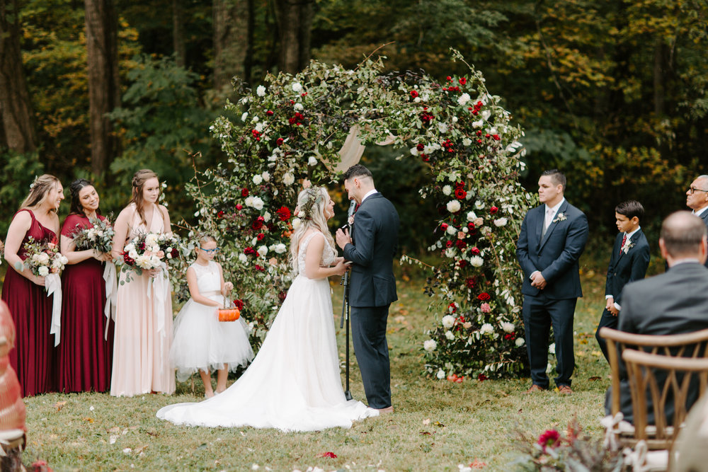 outdoor greenery wedding ceremony