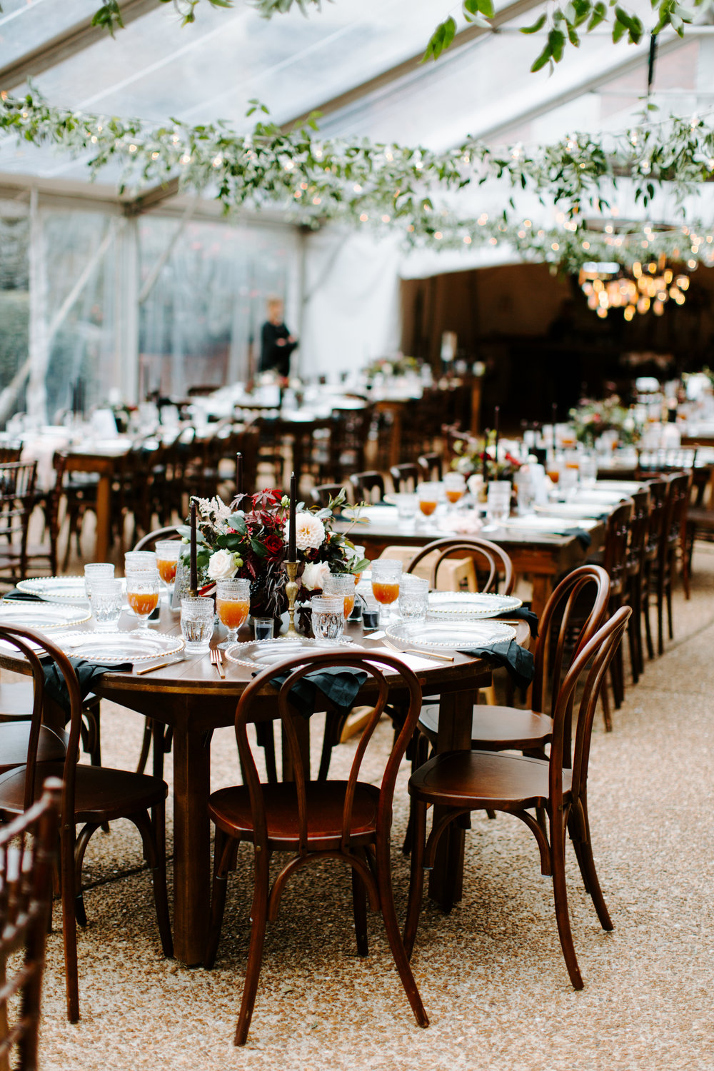 reception setup for a dark fall wedding