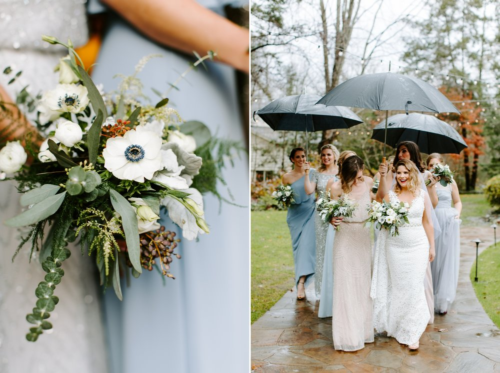 bridesmaids walking with umbrellas on a rainy rt lodge wedding