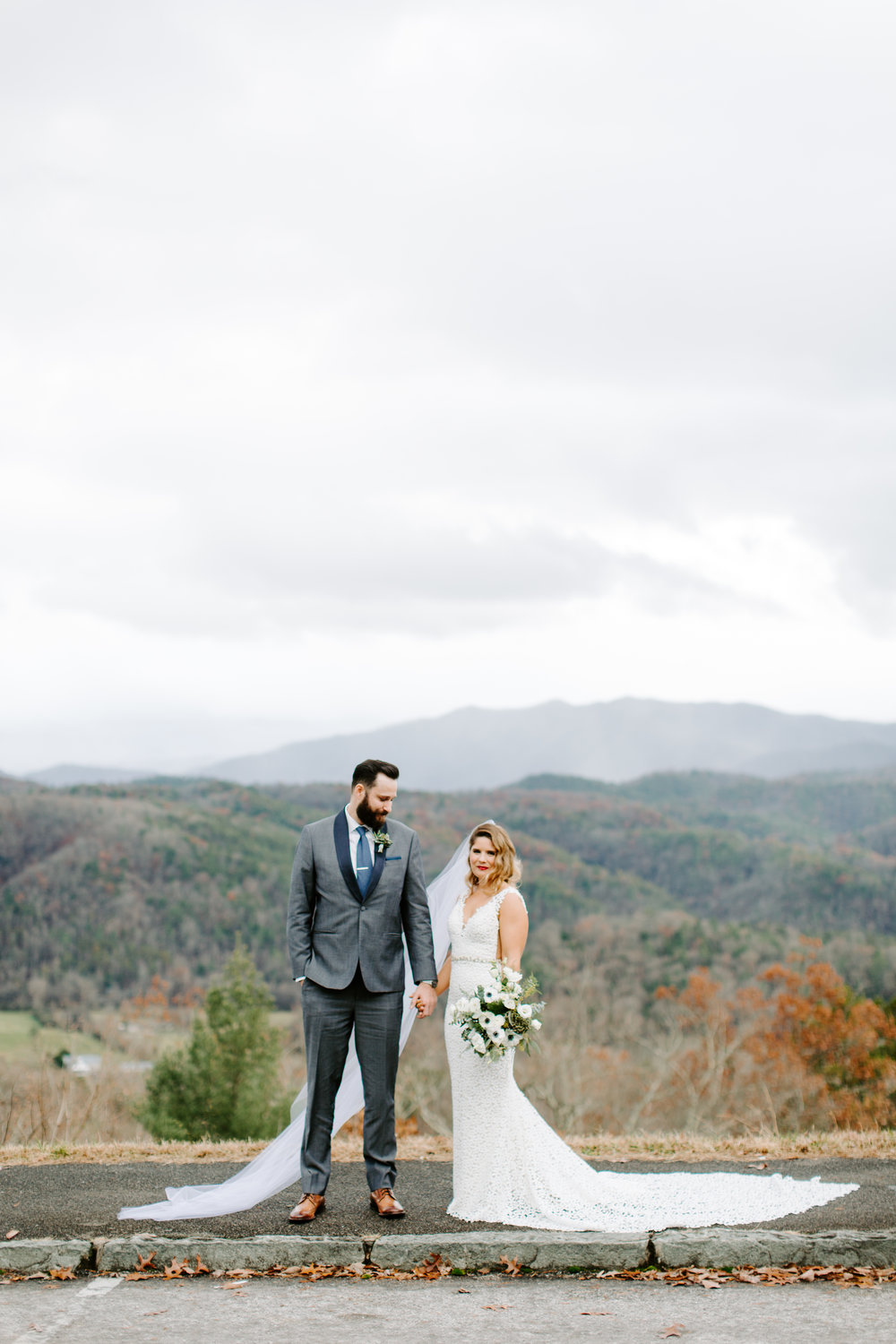 bride and groom portraits on foothills parkway and bouquet made by wade floral co