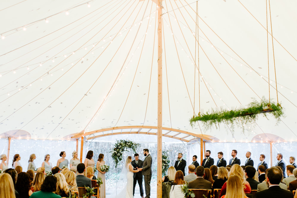ceremony under the sperry tent because it rained