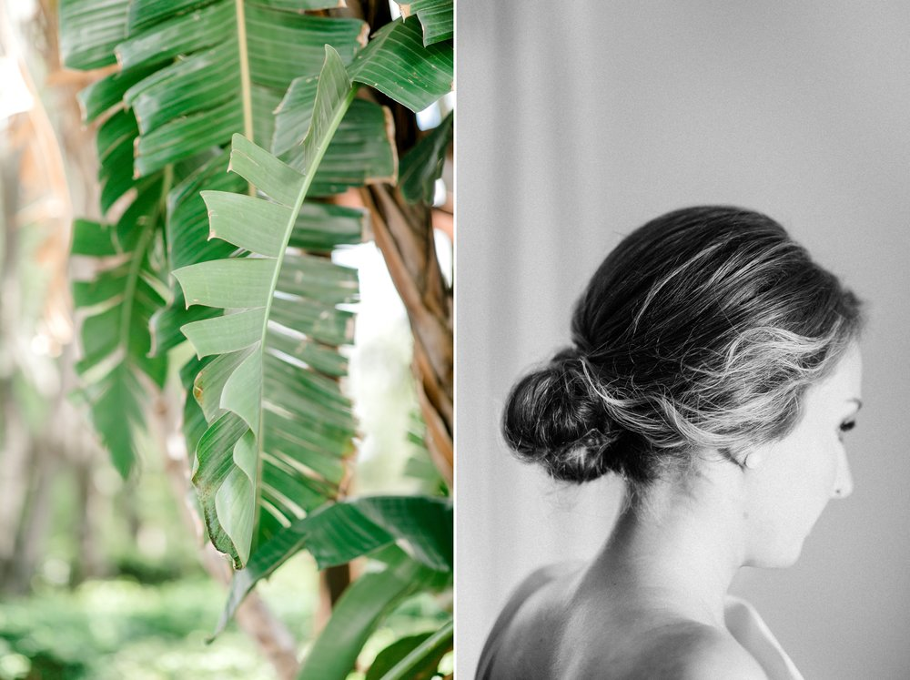 bride and greenery