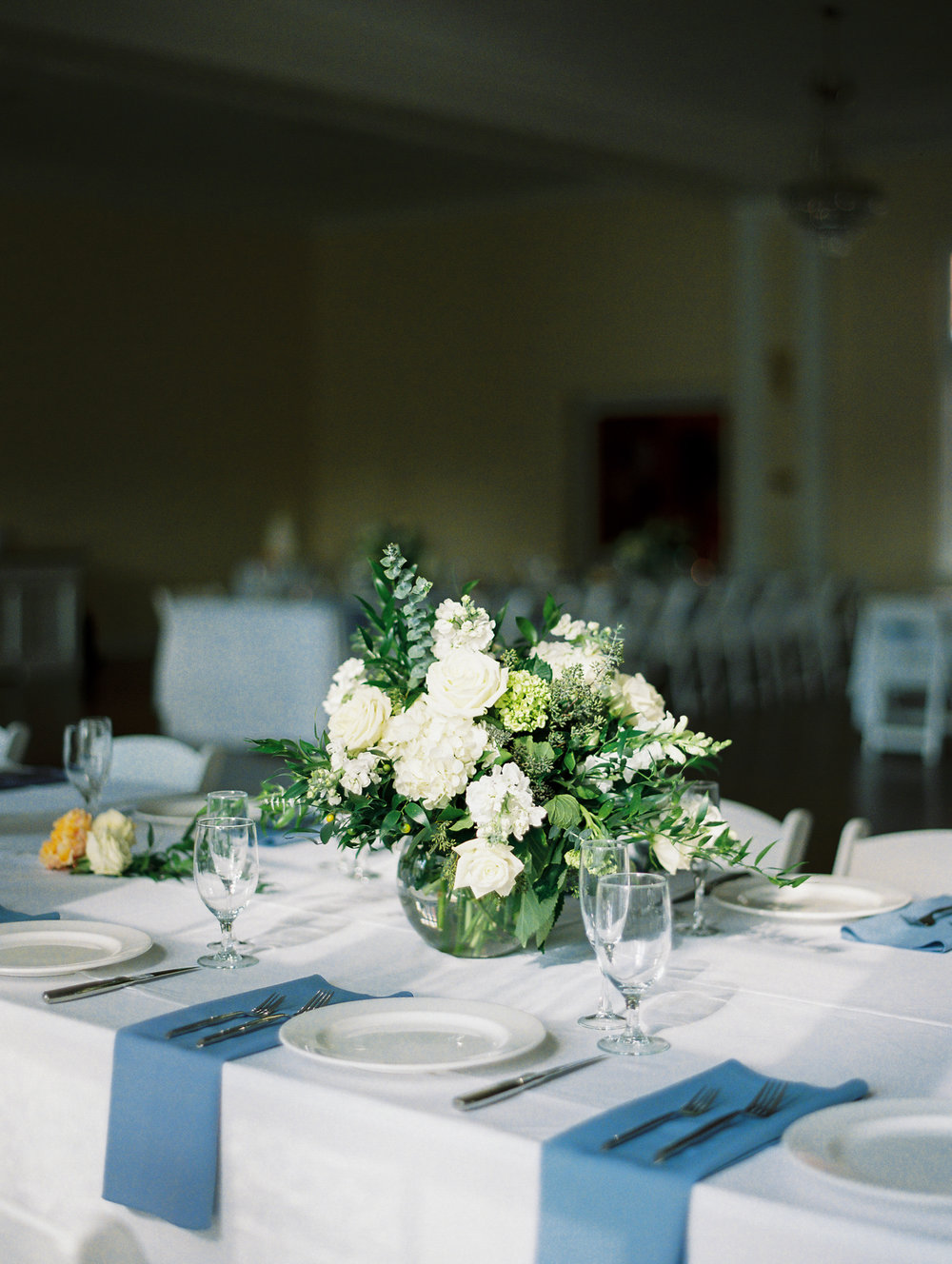 greenery centerpieces on film