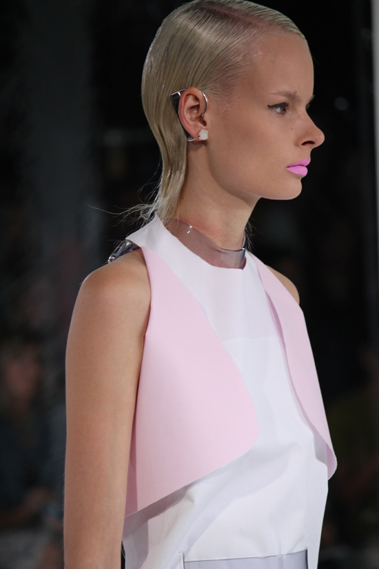Futuristic pastels and plastic harnesses at Prabal Gurung Spring 2014.