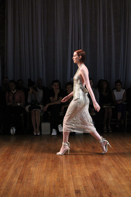 Supermodel Karen Elson killin' it in a slinky slipdress at Jason Wu Spring 2014.