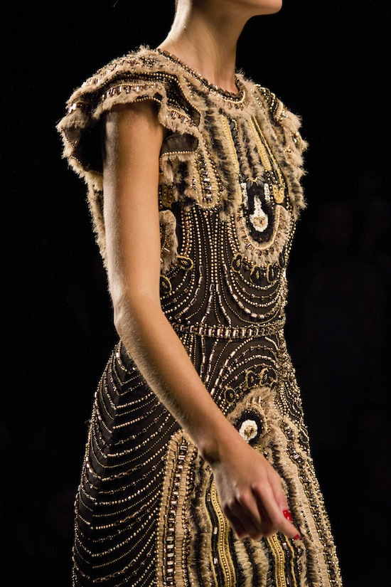 Insanely detailed embroidery at Naeem Khan Spring 2014.