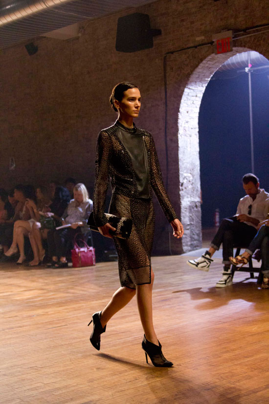 Perforated black leather at Yigal Azrouel Spring 2014.