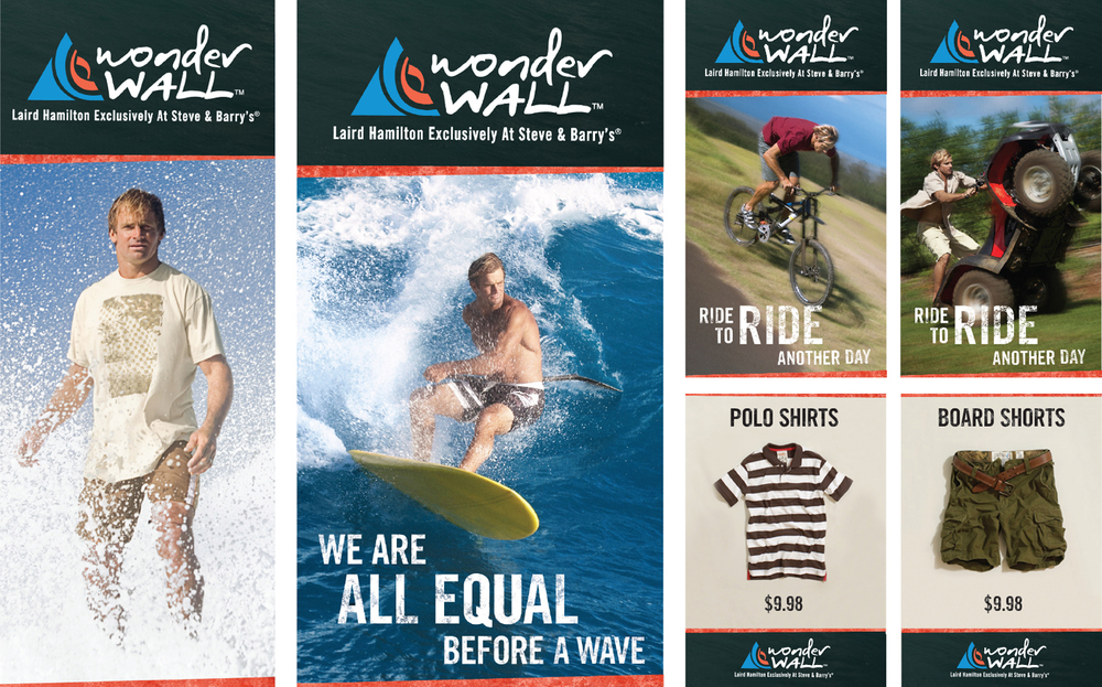 steve & barry's: wonderwall by laird hamilton: instore table talkers: 2008