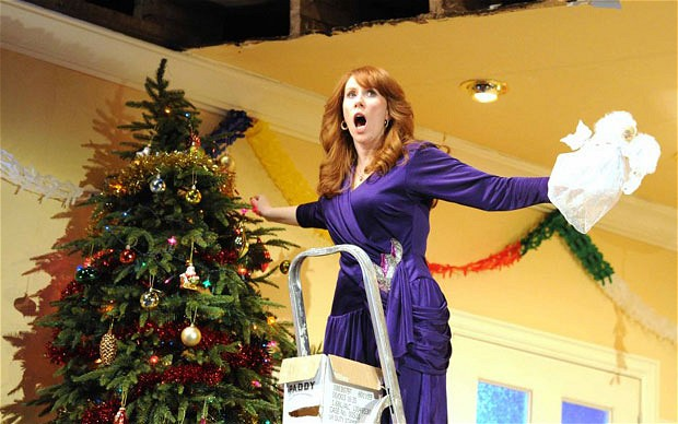 Catherine Tate ham it up in  Seasons Greetings  (photo: Alastair Muir)